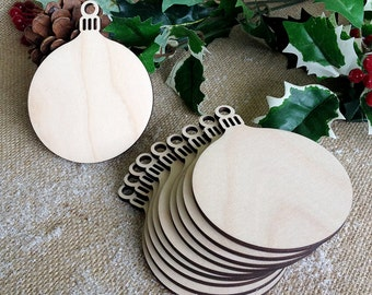 Wooden Round Bauble Christmas Ornament Decoration, Gift Tags, Blank Shapes