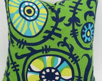 Suzani Vine Pillow Cover -MANY SIZES- Sunshine throw cushion sham Yellow Blue Green Turquoise geometric floral Premier Prints