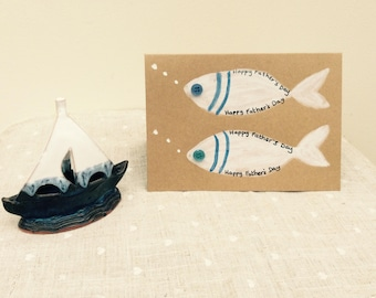 Father's Day Card with hand painted fish