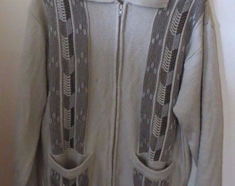 Vintage Haband Men's Zipper Cardigan Sweater Small Acrylic Pockets Gray