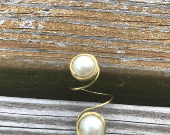 adjustable boho pearl ring