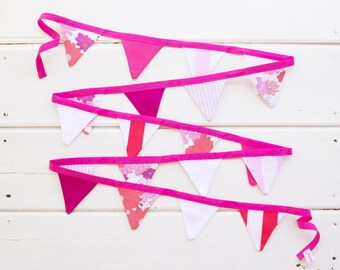"Mini Good WIll Bunting ""Sweets"" Pink Purple Coral Red Bunting"