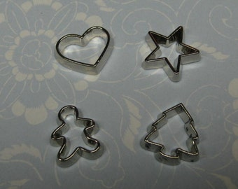dollhouse miniature cookie cutters 4pcs for polymer clay - star heart tree gingerbread man Christmas mini charms Valentines plastic