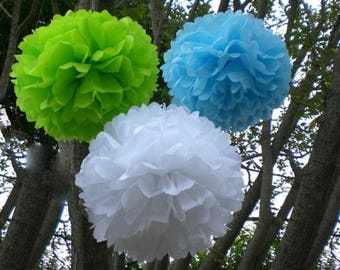 18pcs Mix Size Green Blue White Tissue Paper Pom Pom • 21st Birthday Boy's First Birthday Party • it's A Boy Baby Shower Hanging Decoration