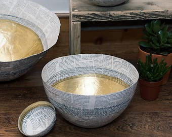 Recycled Paper Bowl with Gold Insert