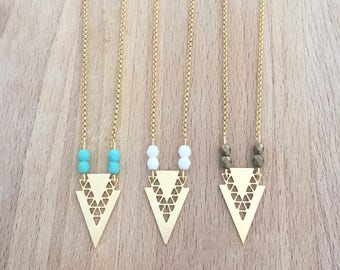 Geometric Chevron and small beads gilded with fine gold necklace