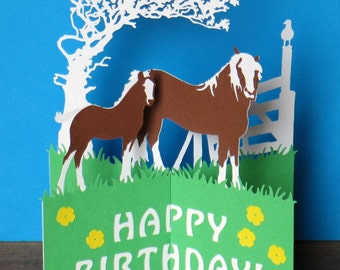 Horses, Birthday Card, Mothers Day Card, Happy Easter Card, Fathers Day Card, Pop Up Card, Horse Card, Farming Card, Thank You Cards, Cards