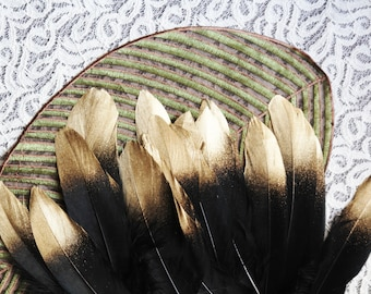 Goose Feather Confetti - Hand Painted Black Emperor Gold Feather Wedding Decor Wedding Gift Home Decor Bridal Shower Decorations