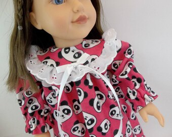 "18 inch Doll Sleepwear Flannelette Nightgown Fuchsia with Pandas to fit 18"" American Girl Doll"