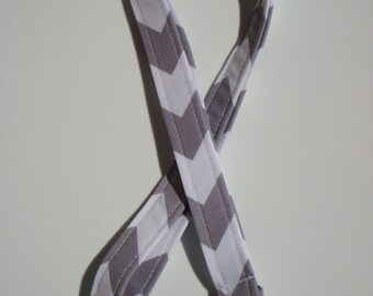 Lanyard - Key Chain / ID Holder  with Swivel Clasp and Key Ring- Chevron  Gray and White - Zig Zag