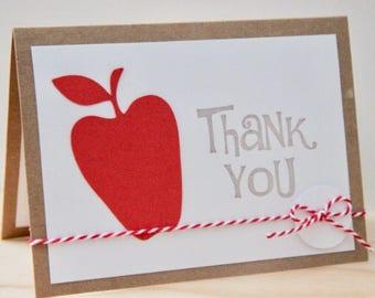 Teacher Appreciation Card.  Teacher Thank You Card.  Apple Card for Teacher.  Classroom Teacher Card.  Thank You Card for Teacher.