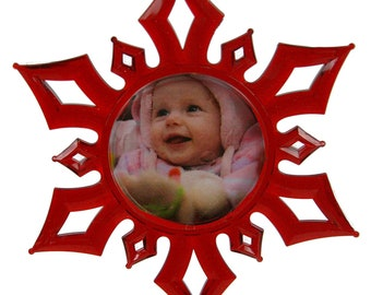 Christmas 3D Photo Snowflake Ornament RED
