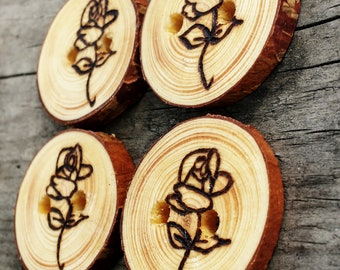 Wood Buttons With Roses, Rustic Flower Buttons, Wood Burned Rose Buttons, Tree Slice Buttons for Knitting and Crocheting