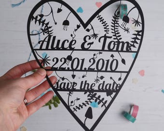 SAMPLE Personalised Save the date Paper Cut Invitation. wedding paper cut, wedding stationary, save the date. FREE P&P!