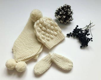 Baby cap, scarf and mittens in textured pattern hand-knitted  gift set sheep wool baby accessory pom poms