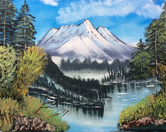 Mountain- lack view - Oil painting