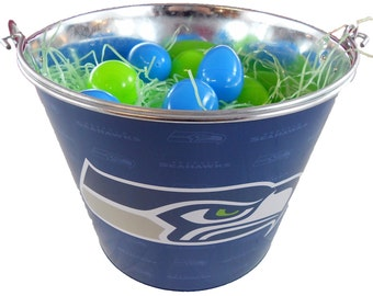 Seattle Seahawks Easter Basket NFL - with Eggs and Team Color Grass