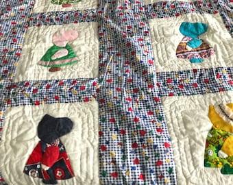 Sun Bonnet Sue Crib/Toddler Bed Homemade Quilt