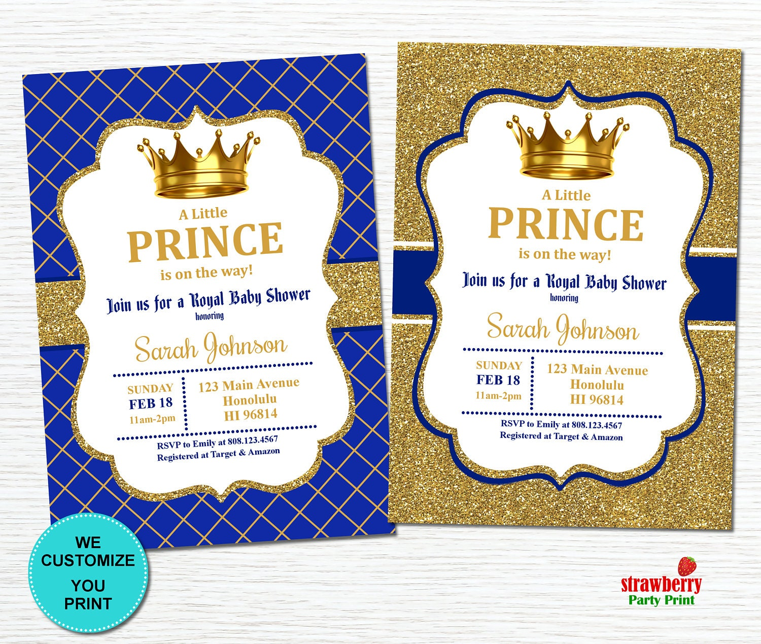 Royal Prince Baby Shower Invitation Little Prince Baby Shower