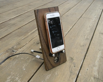 Phone Stand Wood, Desktop Docking Station, Charging Station, Cell Phone Holder, iPhone, Samsung, Desk Accessory, Office Decor, Bedside Stand
