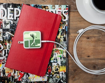 iPhone and Apple Laptop Charger Sticker - Hole-in-One Golf Design - Great gift for the golfer in your life, Gift for Dad