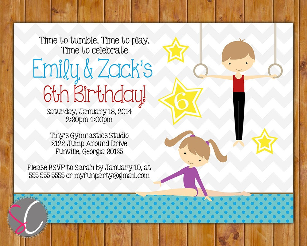 Joint Gymnastics Party Invite Tumble Gym Invitation 3rd 4th