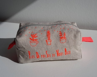 Hand made screen printed linen pouch