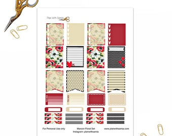 Maroon Floral Set - Planner Printable Stickers
