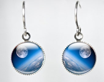Glass Space Earrings - Earth From Space Glass Earrings - Photo Glass Space Earrings