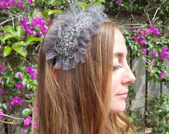 Bridal Headband. Bridesmaid Hair Accessory. Vintage Headband. 1920s Gray Headband. Beaded, Chain Silver Headband