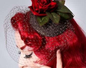 Red velvet Rose Rockabilly Pin Up Burlesque Birdcage veil fascinator headpiece