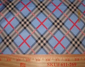 Beautiful Diagonal Plaid on Dusty Blue on Nylon Spandex Knit