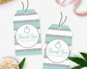 Printable Bridal Shower Favor Tags / Bridal Shower Printable Thank You Tags / Engagement Thank You Tags Printable / Silver Glitter Aqua