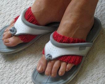 Hand Knit Cotton Sandal Socks, Toeless Socks, Flip Flop Sox, Dance, Yoga Pilates Socks, Footwarmers, foot guards, foot savers