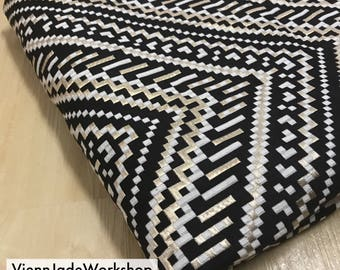 Aztec Woven Fabric | Metallic Gold /Black & White Tribal Woven Fabric | Boho Polyester Fabric