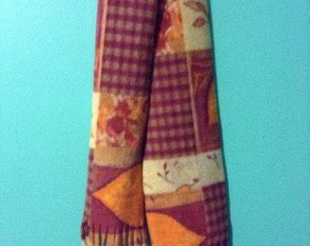 fall print fleece scarf