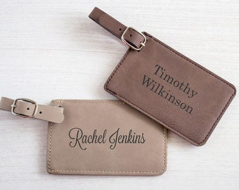 Personalized Luggage Tag:  Custom Luggage Tag with Name, Leatherette Luggage Tag, Wedding Party Luggage Tag, SHIPS FAST