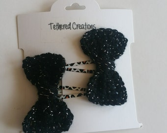 Set of 2 Sparkly Black Bows