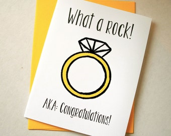 Funny Engagement Card - Wedding Card - What a Rock