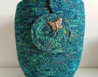 Extra-tall multicoloured pot (batik cotton)