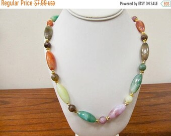 On Sale Vintage Multi Colored Molded Plastic Beaded Necklace Item K # 1668