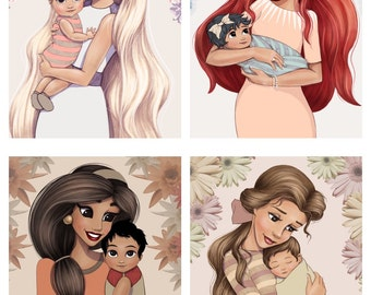 4 - 8x10 Princess Mothers [Full Color] - Children's Wall Art Prints - Baby Kids Nursery Room Decor