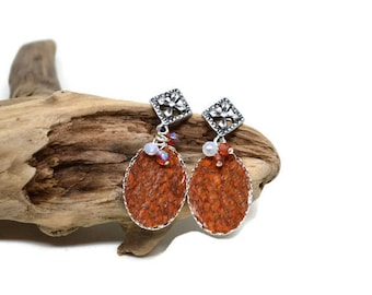Earrings silver, leather rust trout, fish leather, Nanai collection
