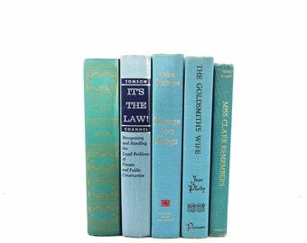Blue Green Books, Pastel Old Decorative Books, Book Set Decor,  Rustic Book Lover, Old Book Collection Wedding Centerpiece, farmhouse decor