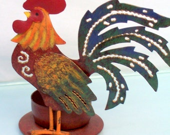 Colorful Rooster Tea Candle Holder