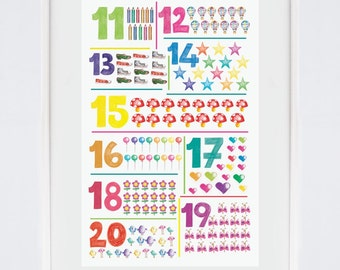 Numbers Educational toys Classroom decor 100 days of school School supplies Learning numbers poster Teachers gifts from students