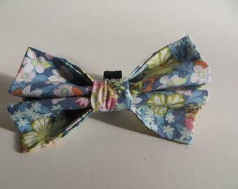 Blue Floral Spring Dog Bow Tie