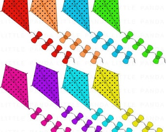 60% OFF SALE Flying Kite Clip Art, Digital Clipart, Personal and Commercial Use - Instant Download - D424
