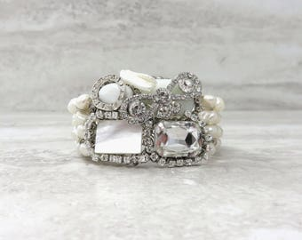 Whimsical Wedding Bracelet in Ivory White Pearls & Crystals-Sparkly Bridal Cuff Bracelet with Unique Rhinestone Bow and Hint Something Blue