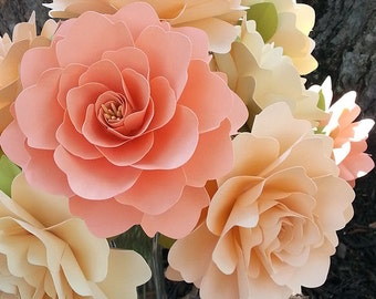 Paper Flowers - Wedding Decorations - X-Large Flowers - Set of 12 - Mixed Colors - MADE TO ORDER